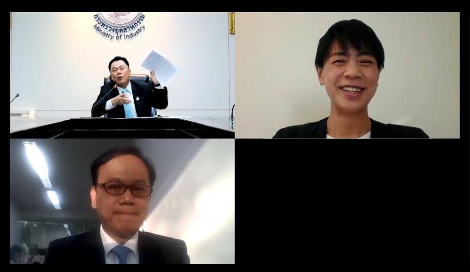 2021年4月7日 タイ工業省 事務次官オンラインインタビューの様子
